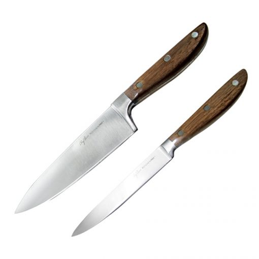 2-Pieces Knife Set with Walnut Wooden Handles